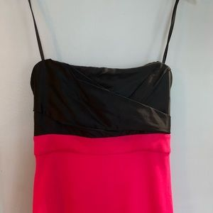 Strapless pink and black cocktail dress